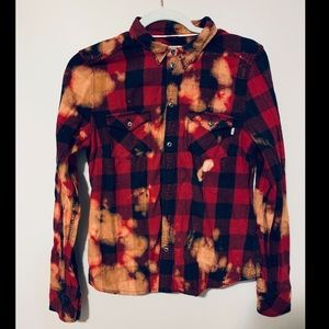 Aritzia Distressed TNA Red & Black Button Down